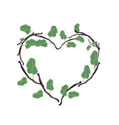 Green leaves and twigs in a beautiful heart shape vector