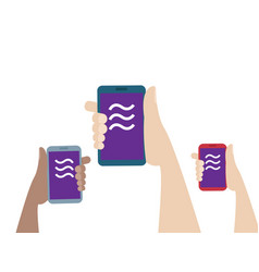 hands holding mobile smartphone with libra coin vector image