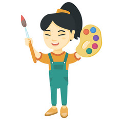 Happy girl drawing with colorful paints and brush vector
