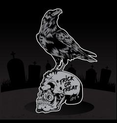 happy halloween crow skull vector image