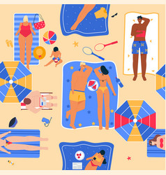 happy people sunbathing on beach in top view vector image
