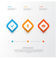 Interface icons set collection of done printer vector