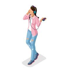 isometric girl young people gadgets vector image