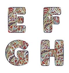 Letters e f g h set colorful alphabet vector