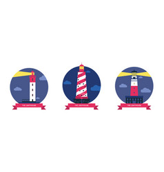 lighthouse beacon lighter beaming path vector image