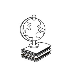 line earth planet map desk in notebooks vector image