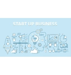 Line style design concept of start up business vector image