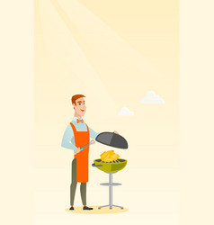 Man cooking chicken on barbecue grill vector