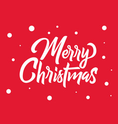 merry christmas hand lettering white text vector image