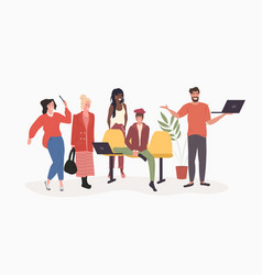 mix race people group using digital devices social vector image