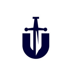 Modern professional logo monogram u sword in blue vector