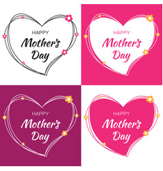 mothers day card lettering set with heart vector image