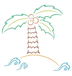 Palm at island vector