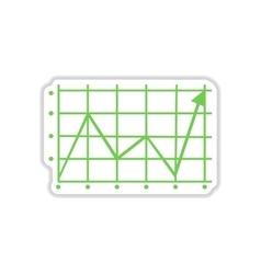 Paper sticker on white background economic graph vector