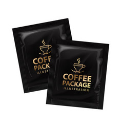 Realistic offee or cocoa sachet mock up vector