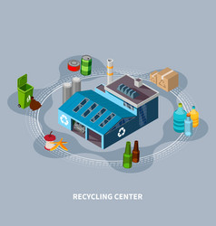 Recycling centre isometric composition vector