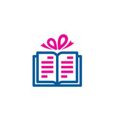 Ribbon book logo icon design vector