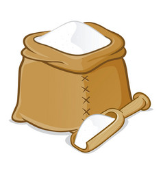 Sack full of flour with wooden scoop vector