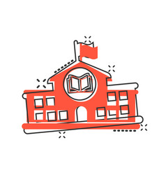 School building icon in comic style college vector