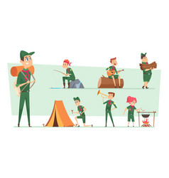 scouts characters summer campers boys and girls vector image