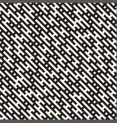 seamless black and white lines maze pattern vector image