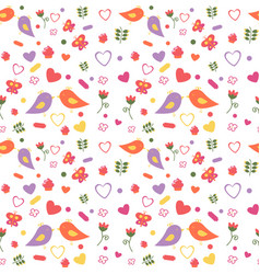 seamless pattern of lovebirds with flowers twigs vector image
