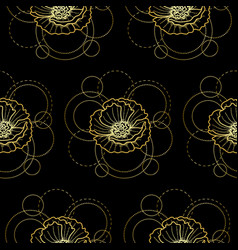 Seamless pattern with gold poppy and circles on vector