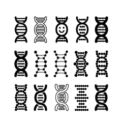 Set of black DNA icons vector