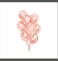set of pink white transparent balloon isolated in vector image