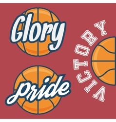 Set of three basketball team logo with ball vector