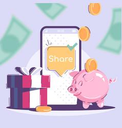 Share social media post mockup referral program vector