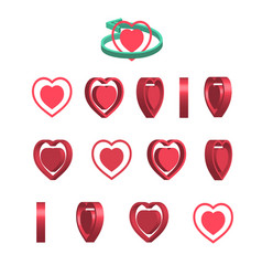 Sheet of sprites rotation of cartoon 3d heart vector