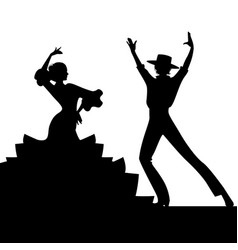 Silhouette of couple of typical spanish flamenco vector