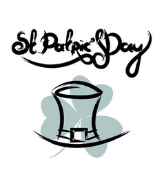 st patricks day lettering with hat vector image