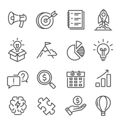 startup rocket take off linear icons set isolated vector image