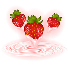 strawberries and cream swirl vector image