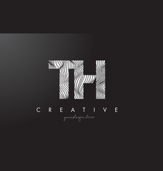 Th t h letter logo with zebra lines texture vector