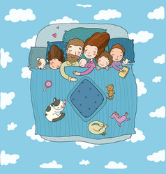 the family sleep in bed cartoon mom dad and vector image
