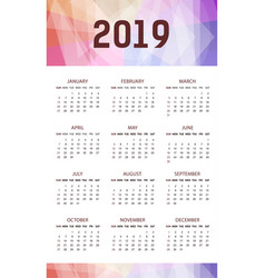 vertical modern calendar template for 2019 years vector image