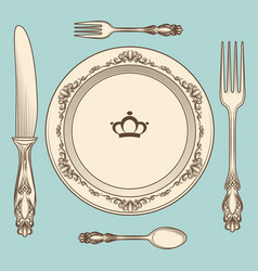 Vintage cutlery and plate vector