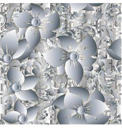 Vintage floral 3d greek seamless pattern vector