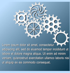 White gears infographics on dark blue background vector