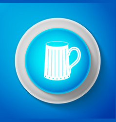 white wooden beer mug icon on blue background vector image