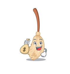 With money bag broom with in a cartoon vector