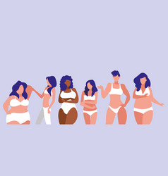 Women of different sizes and races modeling vector