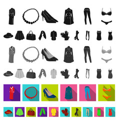 women s clothing flat icons in set collection for vector image