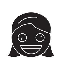 Zany face emoji black concept icon vector