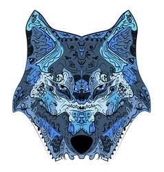 wolf head zentangle stylized vector image vector image