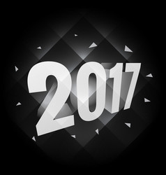 Black background with 3d style 2017 lettering vector