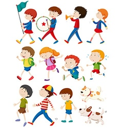 Boys and girls in many actions vector image vector image